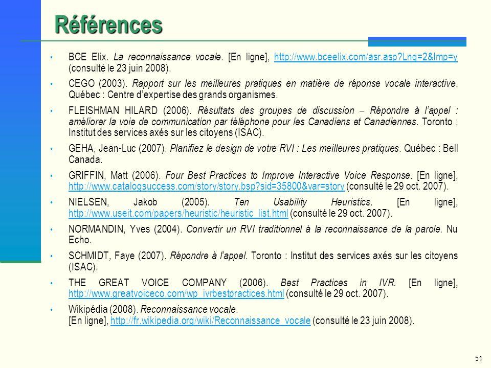51 BCE Elix. La reconnaissance vocale. [En ligne], http://www.bceelix.com/asr.asp?Lng=2&Imp=y (consulté le 23 juin 2008).http://www.bceelix.com/asr.as