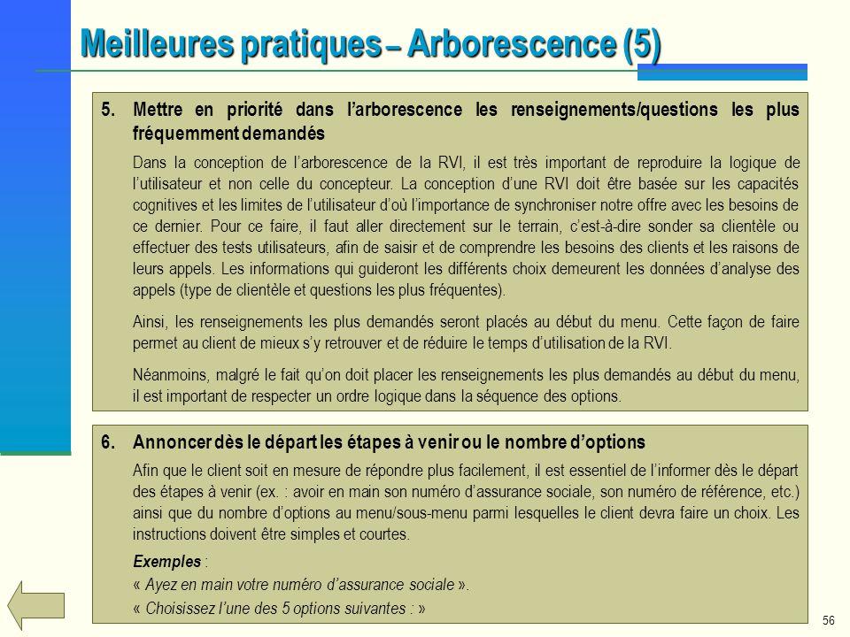 56 5.Mettre en priorité dans larborescence les renseignements/questions les plus fréquemment demandés Dans la conception de larborescence de la RVI, i