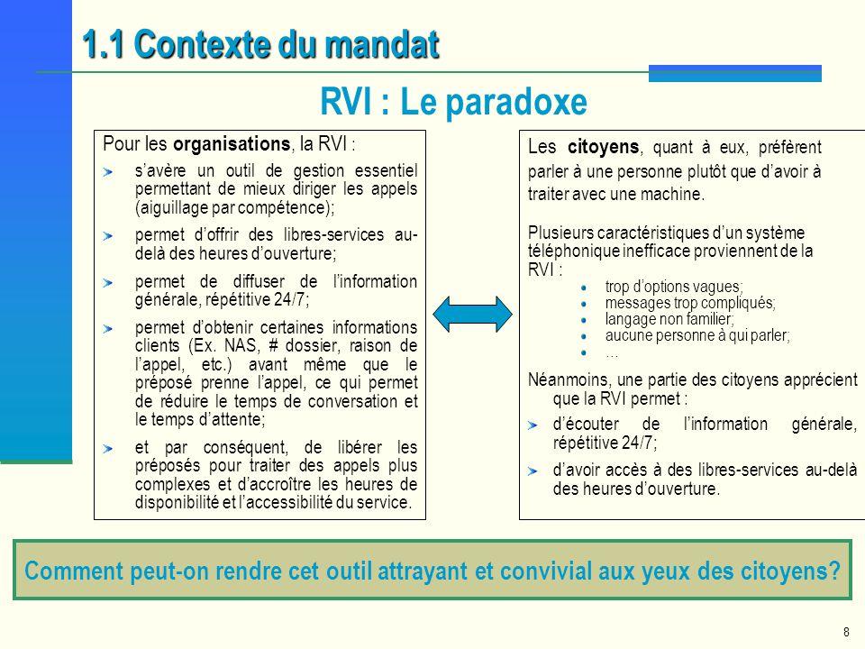 8 Comment peut-on rendre cet outil attrayant et convivial aux yeux des citoyens? RVI : Le paradoxe 1.1 Contexte du mandat Pour les organisations, la R
