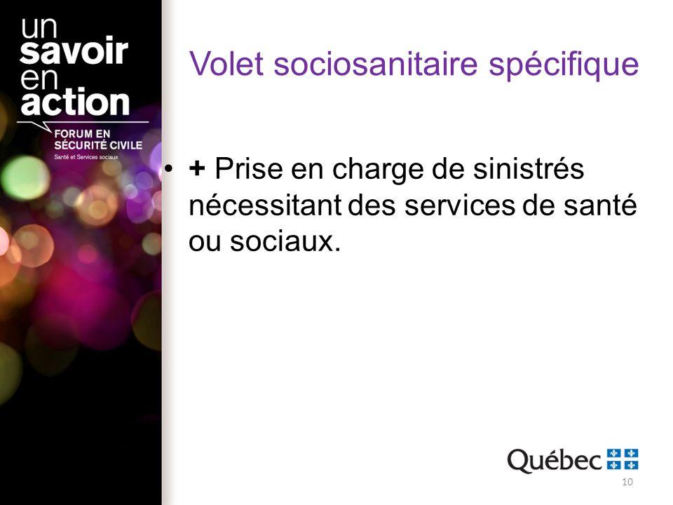 Volet sociosanitaire spécifique + Prise en charge de sinistrés nécessitant des services de santé ou sociaux. 10