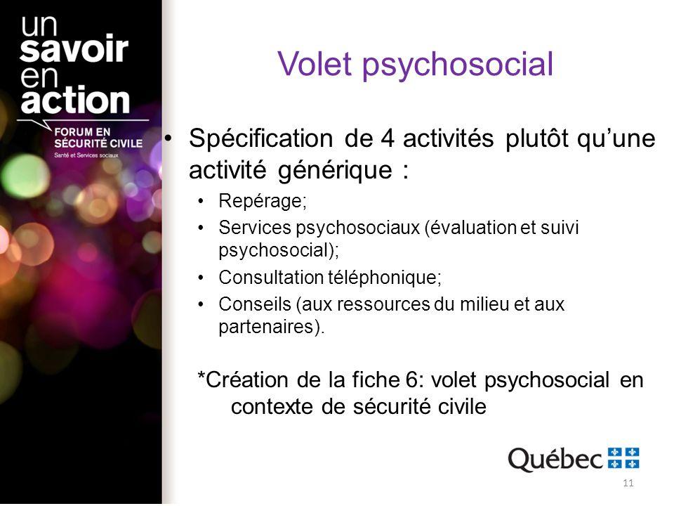 Volet psychosocial Spécification de 4 activités plutôt quune activité générique : Repérage; Services psychosociaux (évaluation et suivi psychosocial);