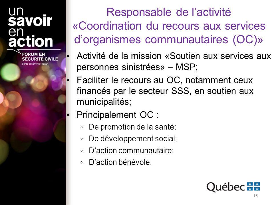 Responsable de lactivité «Coordination du recours aux services dorganismes communautaires (OC)» Activité de la mission «Soutien aux services aux perso