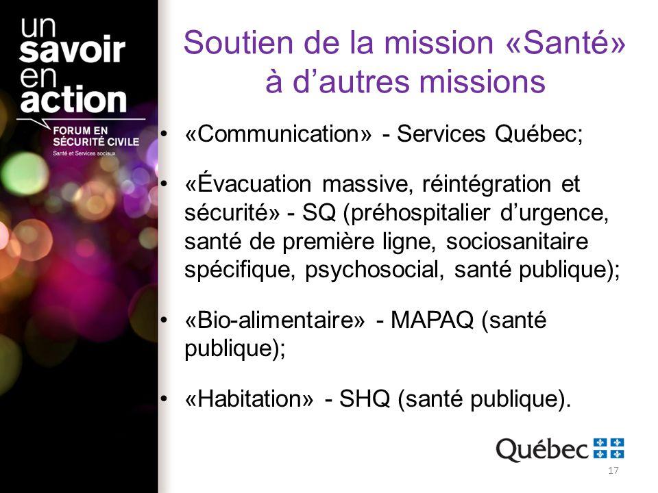 Soutien de la mission «Santé» à dautres missions «Communication» - Services Québec; «Évacuation massive, réintégration et sécurité» - SQ (préhospitali