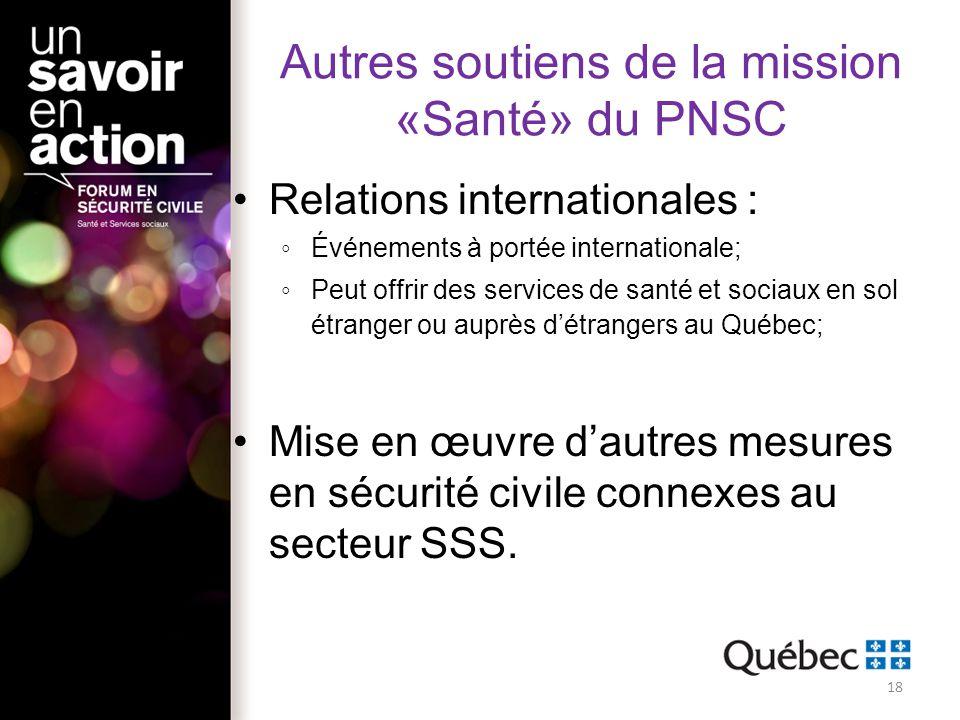 Autres soutiens de la mission «Santé» du PNSC Relations internationales : Événements à portée internationale; Peut offrir des services de santé et soc