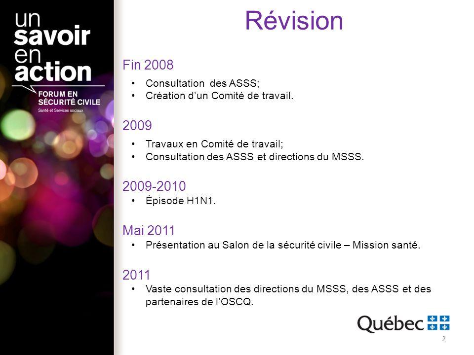 Révision Fin 2008 Consultation des ASSS; Création dun Comité de travail. 2009 Travaux en Comité de travail; Consultation des ASSS et directions du MSS