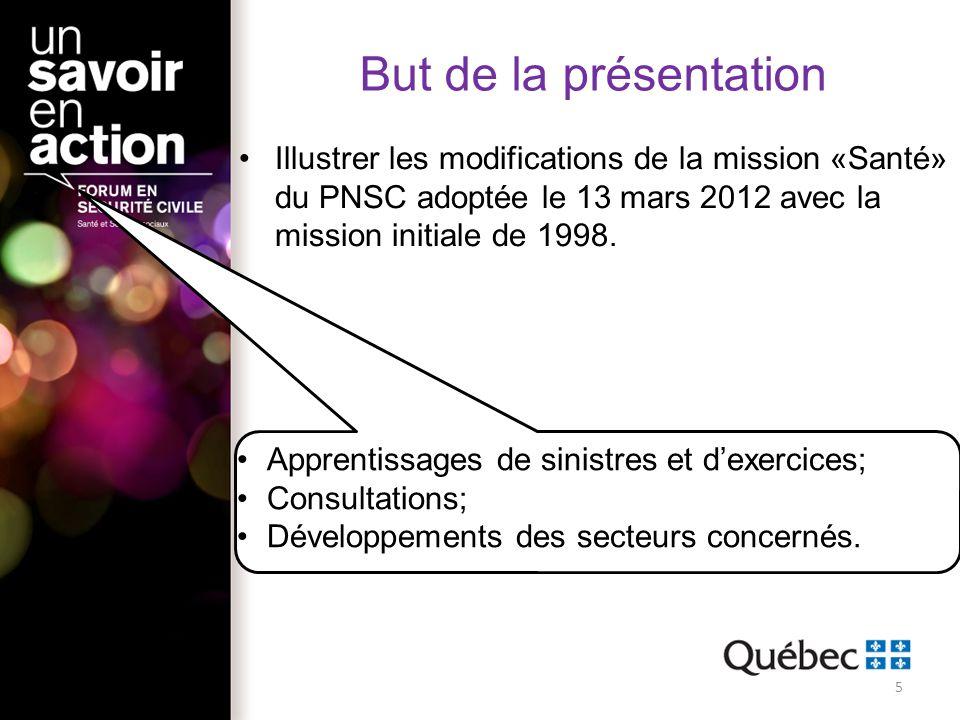 But de la présentation Illustrer les modifications de la mission «Santé» du PNSC adoptée le 13 mars 2012 avec la mission initiale de 1998. Apprentissa