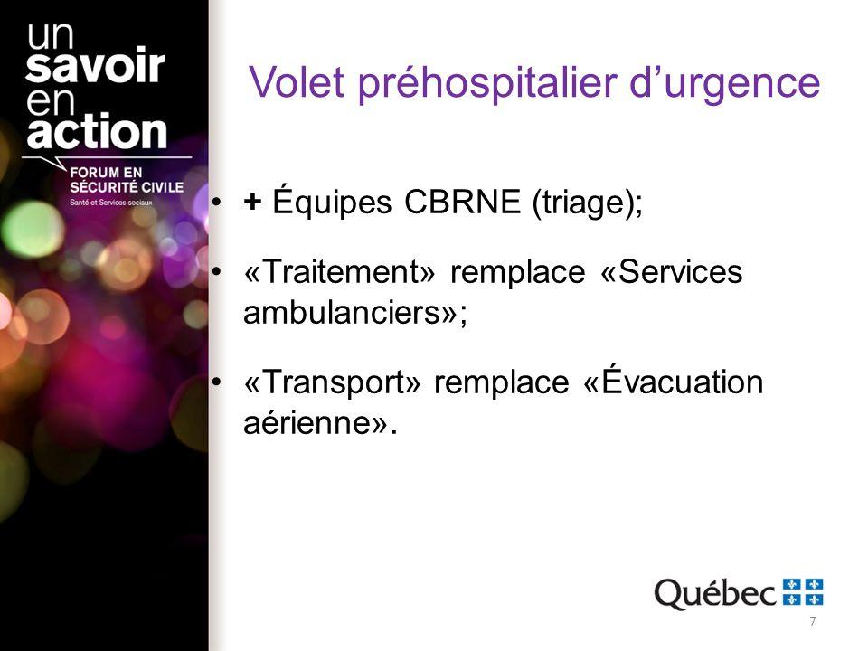 Volet préhospitalier durgence + Équipes CBRNE (triage); «Traitement» remplace «Services ambulanciers»; «Transport» remplace «Évacuation aérienne». 7