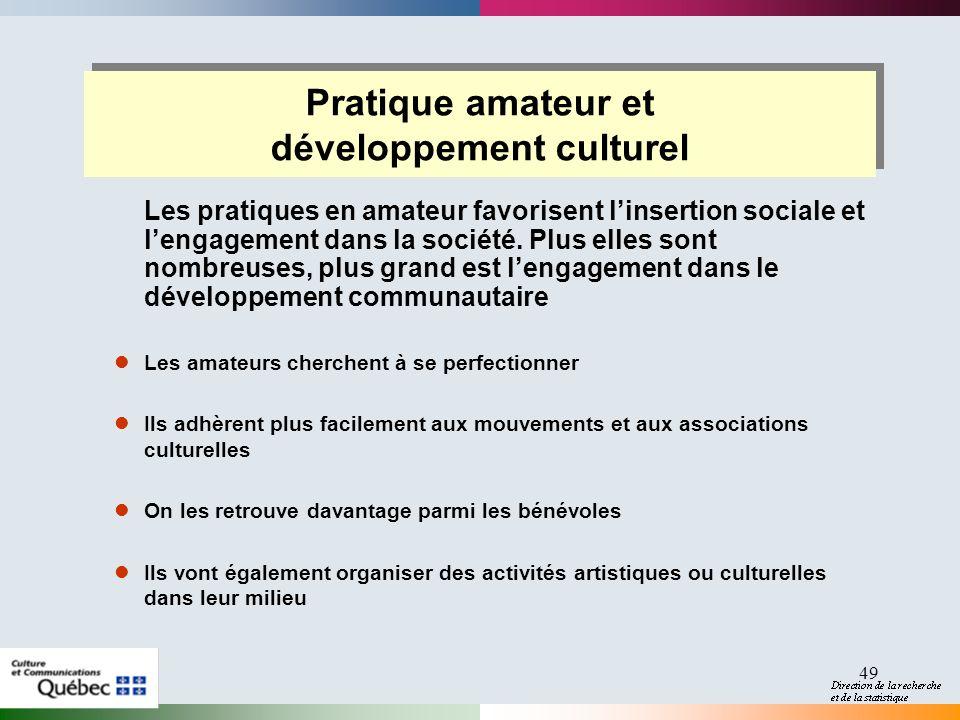49 Pratique amateur et développement culturel Pratique amateur et développement culturel Les pratiques en amateur favorisent linsertion sociale et lengagement dans la société.