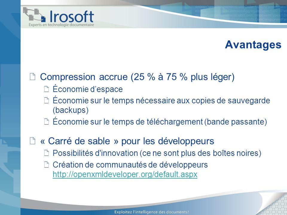 Avantages Compression accrue (25 % à 75 % plus léger) Économie despace Économie sur le temps nécessaire aux copies de sauvegarde (backups) Économie su