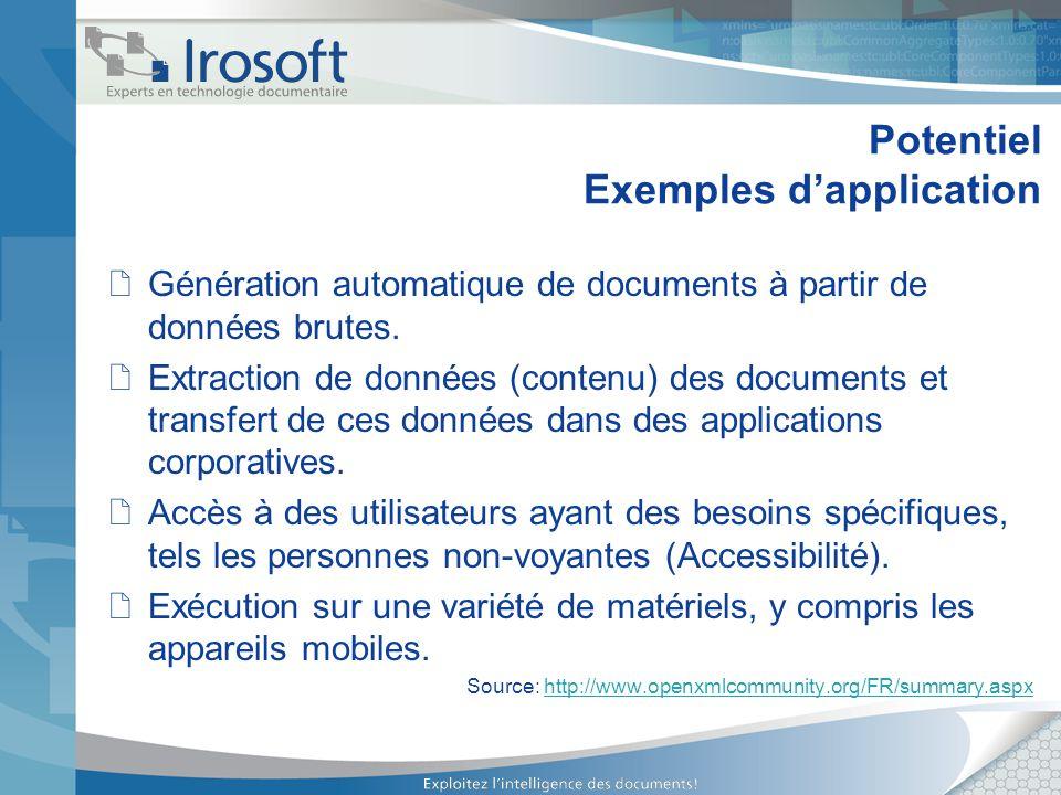 Potentiel Exemples dapplication Génération automatique de documents à partir de données brutes. Extraction de données (contenu) des documents et trans