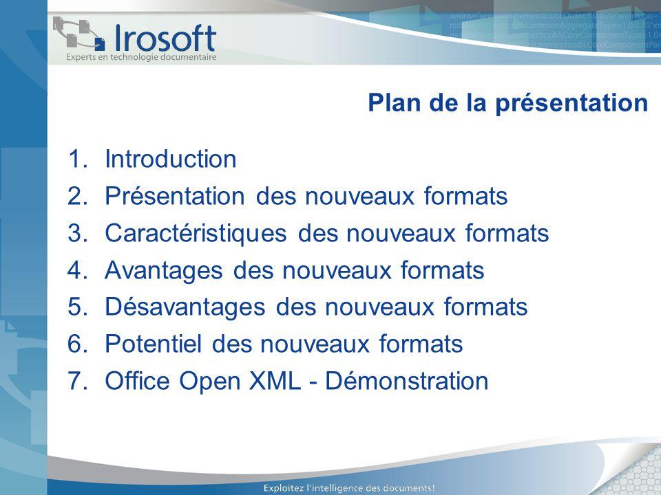 Introduction Objectifs Prendre connaissance des possibilités quoffrent les nouveaux formats de documents numériques.