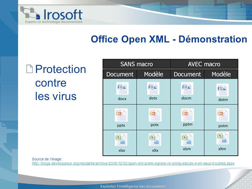 Office Open XML - Démonstration Protection contre les virus Source de limage: http://blogs.developpeur.org/neodante/archive/2006/12/30/open-xml-premi-