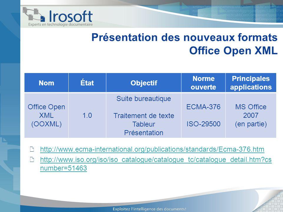 Présentation des nouveaux formats Office Open XML NomÉtatObjectif Norme ouverte Principales applications Office Open XML (OOXML) 1.0 Suite bureautique