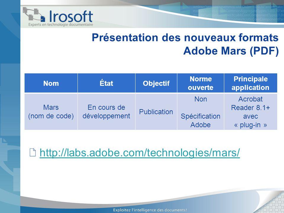 Présentation des nouveaux formats Adobe Mars (PDF) http://labs.adobe.com/technologies/mars/ NomÉtatObjectif Norme ouverte Principale application Mars