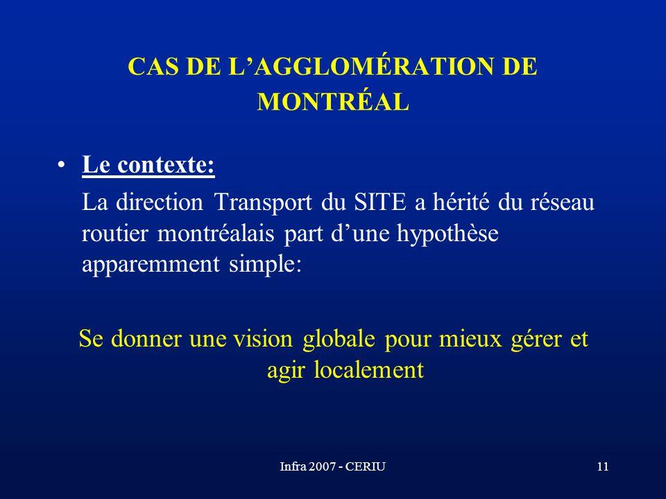 Infra 2007 - CERIU11 CAS DE LAGGLOMÉRATION DE MONTRÉAL Le contexte: La direction Transport du SITE a hérité du réseau routier montréalais part dune hy