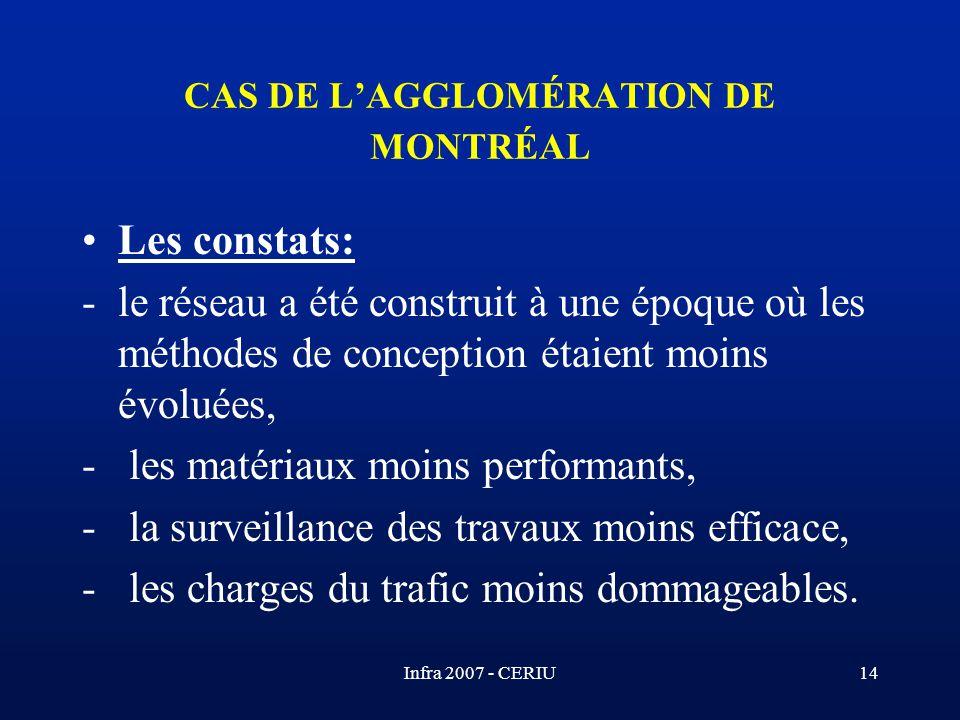 Infra 2007 - CERIU14 CAS DE LAGGLOMÉRATION DE MONTRÉAL Les constats: -le réseau a été construit à une époque où les méthodes de conception étaient moi