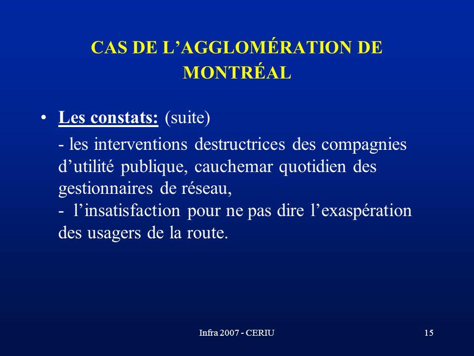Infra 2007 - CERIU15 CAS DE LAGGLOMÉRATION DE MONTRÉAL Les constats: (suite) - les interventions destructrices des compagnies dutilité publique, cauch