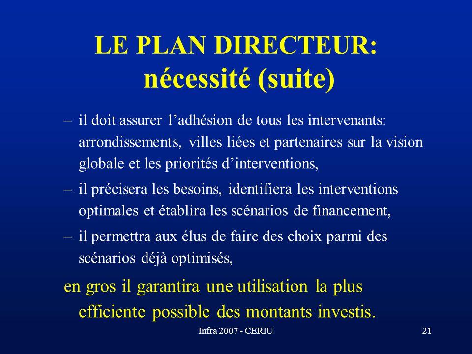Infra 2007 - CERIU21 –il doit assurer ladhésion de tous les intervenants: arrondissements, villes liées et partenaires sur la vision globale et les pr