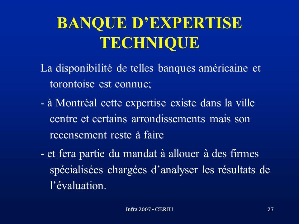 Infra 2007 - CERIU27 La disponibilité de telles banques américaine et torontoise est connue; - à Montréal cette expertise existe dans la ville centre