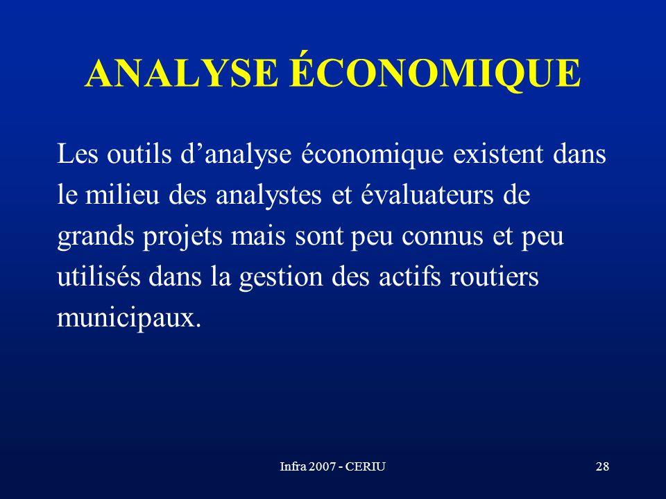 Infra 2007 - CERIU28 Les outils danalyse économique existent dans le milieu des analystes et évaluateurs de grands projets mais sont peu connus et peu
