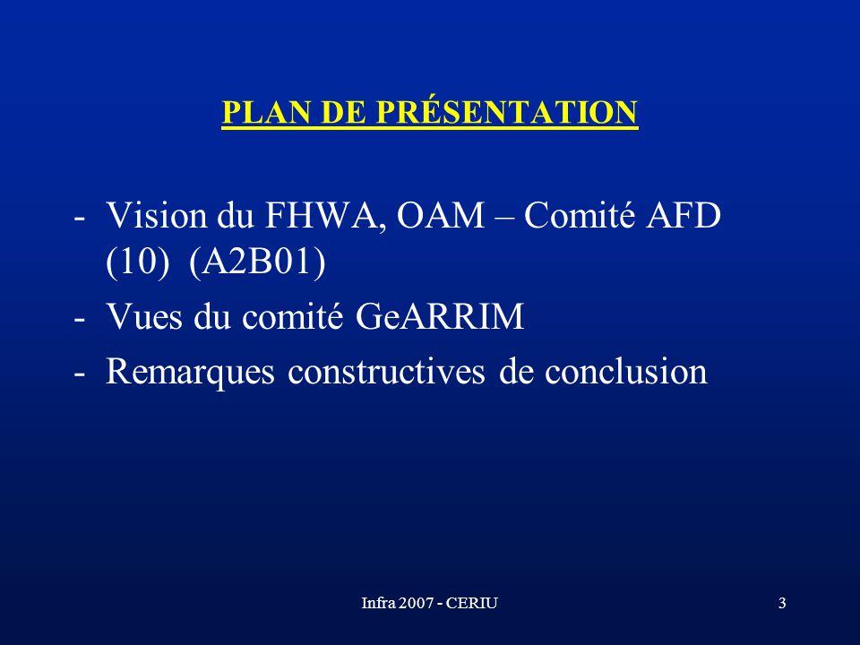 Infra 2007 - CERIU3 PLAN DE PRÉSENTATION -Vision du FHWA, OAM – Comité AFD (10) (A2B01) -Vues du comité GeARRIM -Remarques constructives de conclusion