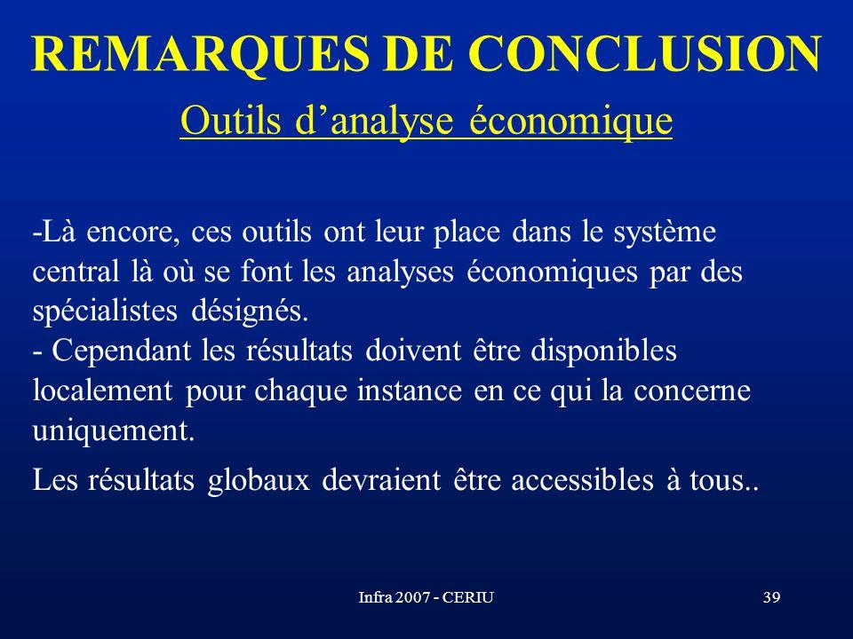 Infra 2007 - CERIU39 -Là encore, ces outils ont leur place dans le système central là où se font les analyses économiques par des spécialistes désigné