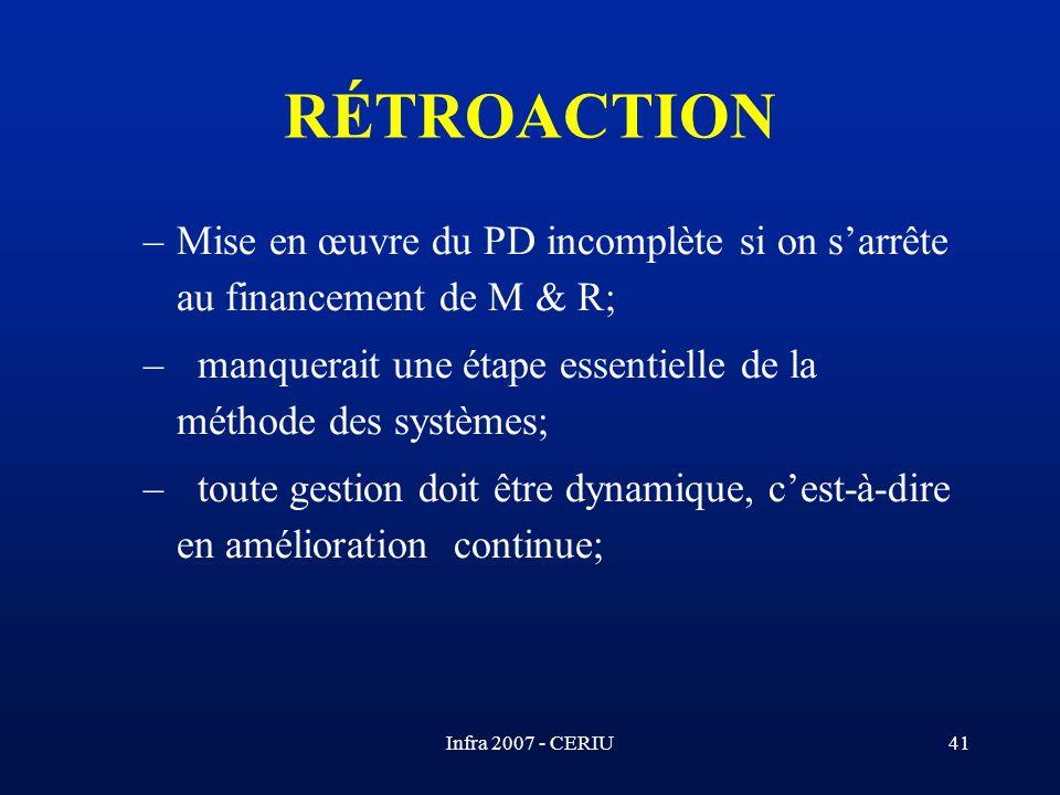Infra 2007 - CERIU41 –Mise en œuvre du PD incomplète si on sarrête au financement de M & R; – manquerait une étape essentielle de la méthode des systè