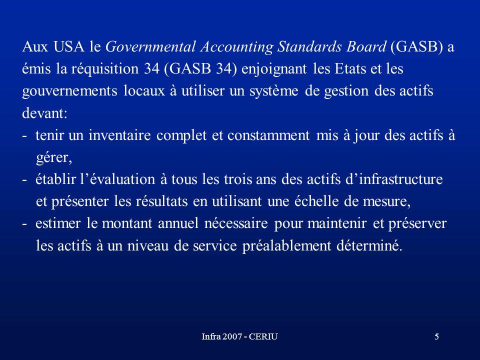 Infra 2007 - CERIU5 Aux USA le Governmental Accounting Standards Board (GASB) a émis la réquisition 34 (GASB 34) enjoignant les Etats et les gouvernem