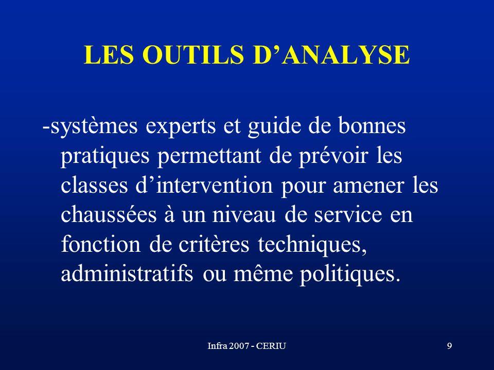 Infra 2007 - CERIU9 LES OUTILS DANALYSE -systèmes experts et guide de bonnes pratiques permettant de prévoir les classes dintervention pour amener les