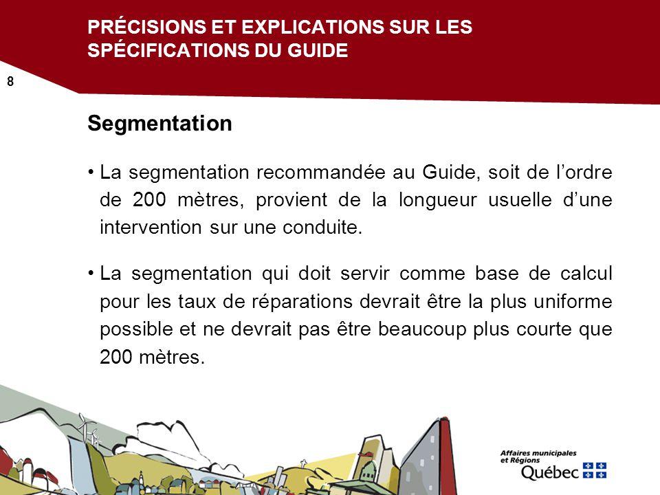 9 PRÉCISIONS ET EXPLICATIONS SUR LES SPÉCIFICATIONS DU GUIDE Indicateurs Tous les critères retenus pour attribuer le pointage des indicateurs utilisés doivent être mentionnés.