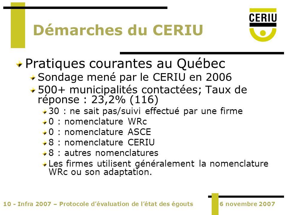 10 - Infra 2007 – Protocole dévaluation de létat des égouts6 novembre 2007 Démarches du CERIU Pratiques courantes au Québec Sondage mené par le CERIU