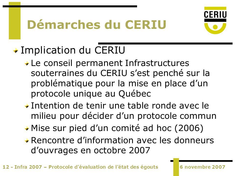 12 - Infra 2007 – Protocole dévaluation de létat des égouts6 novembre 2007 Démarches du CERIU Implication du CERIU Le conseil permanent Infrastructure