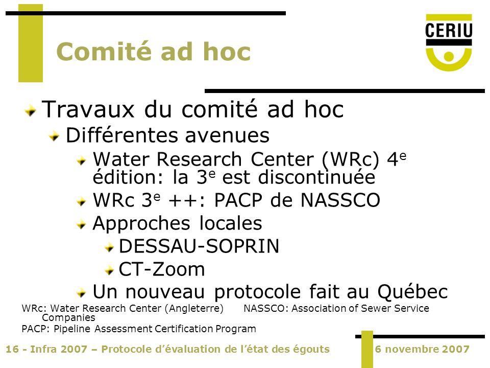 16 - Infra 2007 – Protocole dévaluation de létat des égouts6 novembre 2007 Comité ad hoc Travaux du comité ad hoc Différentes avenues Water Research C