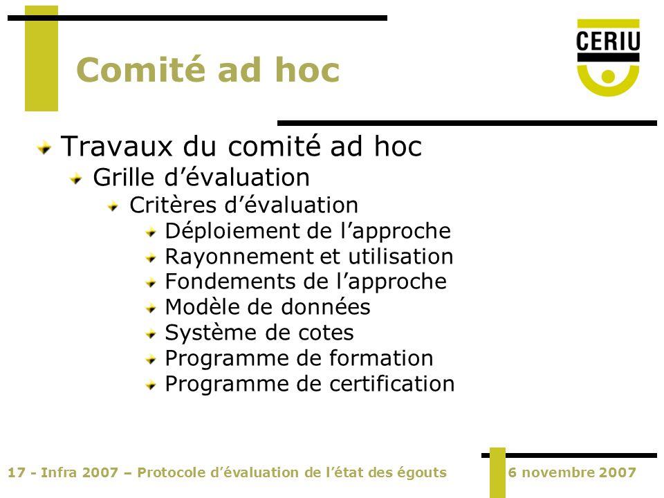 17 - Infra 2007 – Protocole dévaluation de létat des égouts6 novembre 2007 Comité ad hoc Travaux du comité ad hoc Grille dévaluation Critères dévaluat