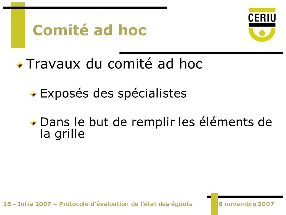 18 - Infra 2007 – Protocole dévaluation de létat des égouts6 novembre 2007 Comité ad hoc Travaux du comité ad hoc Exposés des spécialistes Dans le but