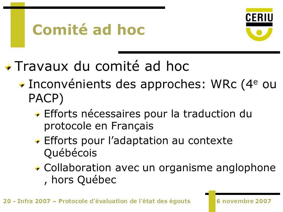 20 - Infra 2007 – Protocole dévaluation de létat des égouts6 novembre 2007 Comité ad hoc Travaux du comité ad hoc Inconvénients des approches: WRc (4