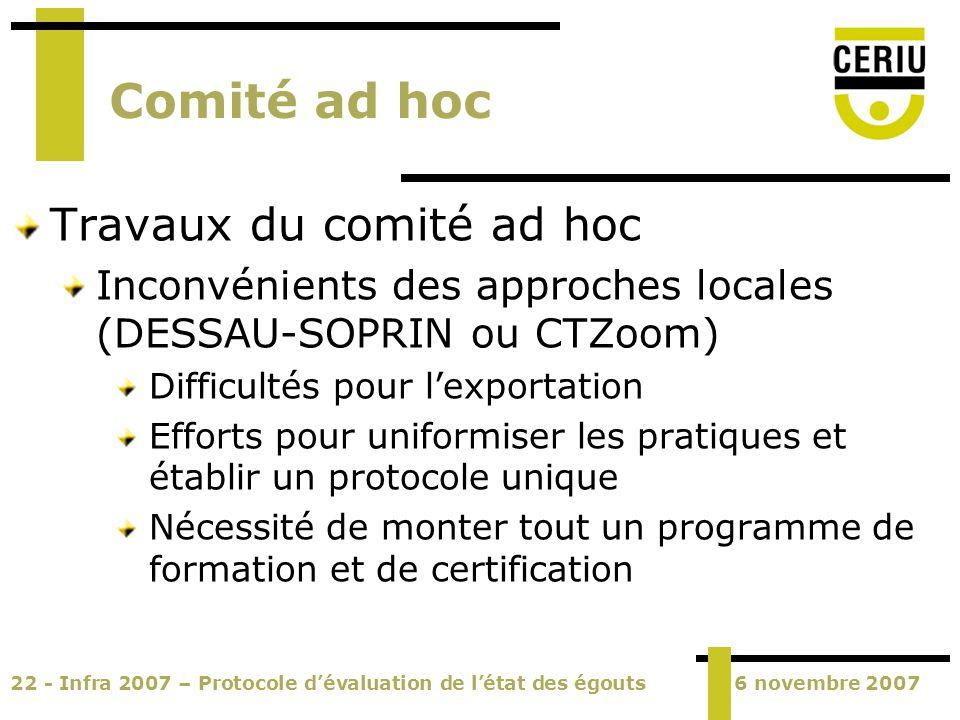 22 - Infra 2007 – Protocole dévaluation de létat des égouts6 novembre 2007 Comité ad hoc Travaux du comité ad hoc Inconvénients des approches locales