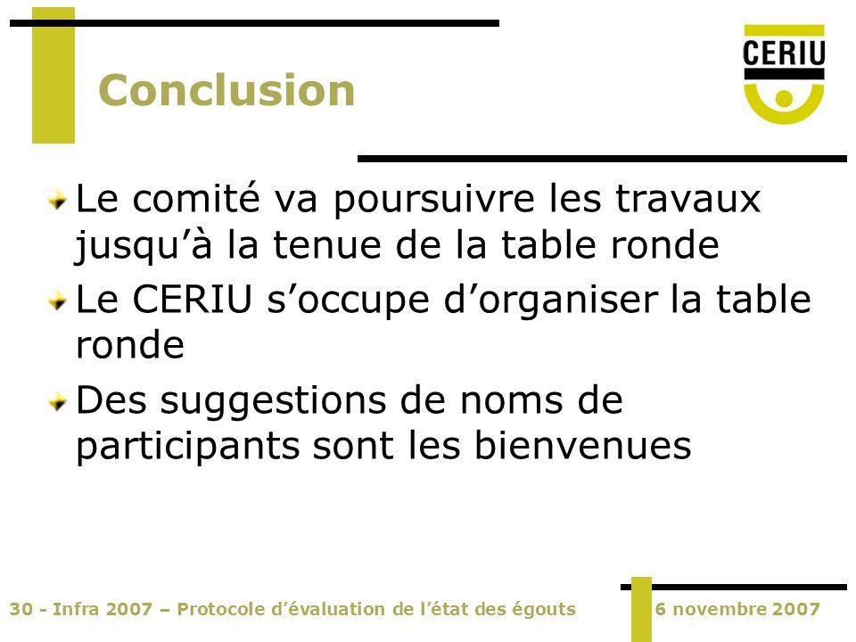 30 - Infra 2007 – Protocole dévaluation de létat des égouts6 novembre 2007 Conclusion Le comité va poursuivre les travaux jusquà la tenue de la table