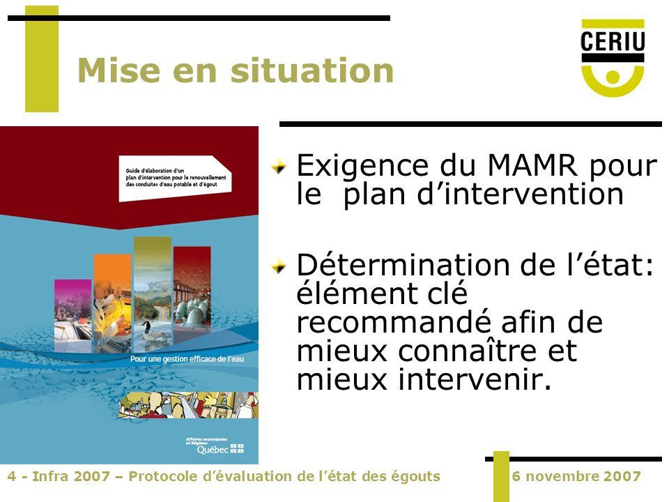 4 - Infra 2007 – Protocole dévaluation de létat des égouts6 novembre 2007 Mise en situation Exigence du MAMR pour le plan dintervention Détermination