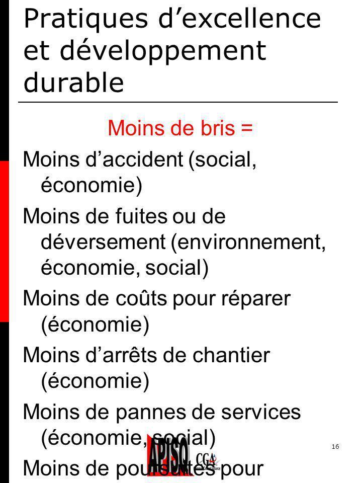 16 Pratiques dexcellence et développement durable Moins de bris = Moins daccident (social, économie) Moins de fuites ou de déversement (environnement,