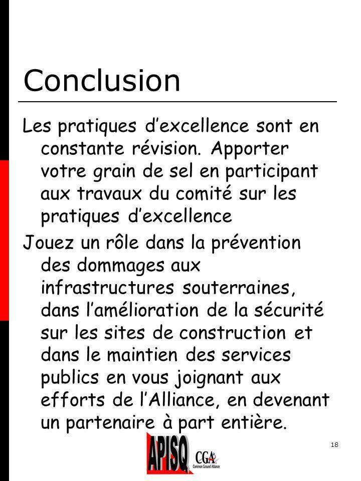 18 Conclusion Les pratiques dexcellence sont en constante révision.