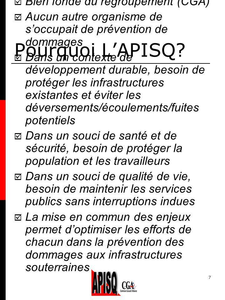 7 Pourquoi LAPISQ? Bien fondé du regroupement (CGA) Aucun autre organisme de soccupait de prévention de dommages Dans un contexte de développement dur