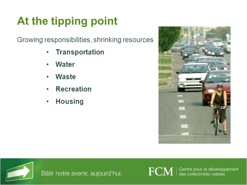 At the tipping point Growing responsibilities, shrinking resources Transportation Water Waste Recreation Housing