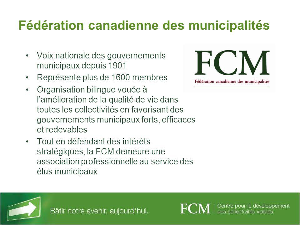 Fédération canadienne des municipalités Voix nationale des gouvernements municipaux depuis 1901 Représente plus de 1600 membres Organisation bilingue