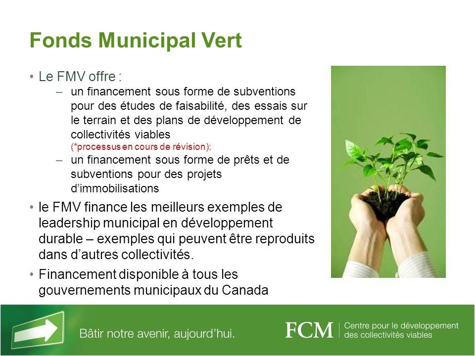 Le FMV offre : –un financement sous forme de subventions pour des études de faisabilité, des essais sur le terrain et des plans de développement de co