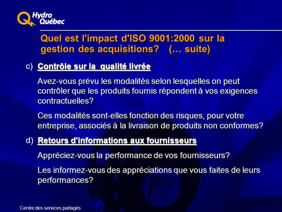 Quel est l'impact d'ISO 9001:2000 sur la gestion des acquisitions? (… suite) Contrôle sur la qualité livrée c)Contrôle sur la qualité livrée Avez-vous