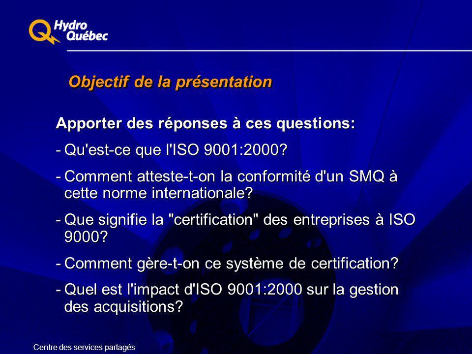Objectif de la présentation Apporter des réponses à ces questions: -Qu'est-ce que l'ISO 9001:2000? -Comment atteste-t-on la conformité d'un SMQ à cett