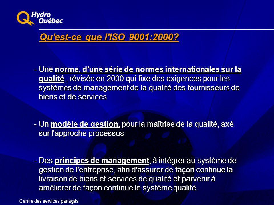 Qu'est-ce que l'ISO 9001:2000? -Une norme, d'une série de normes internationales sur la qualité, révisée en 2000 qui fixe des exigences pour les systè