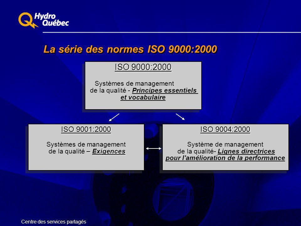La série des normes ISO 9000:2000 Centre des services partagés ISO 9000:2000 Systèmes de management de la qualité - Principes essentiels et vocabulair