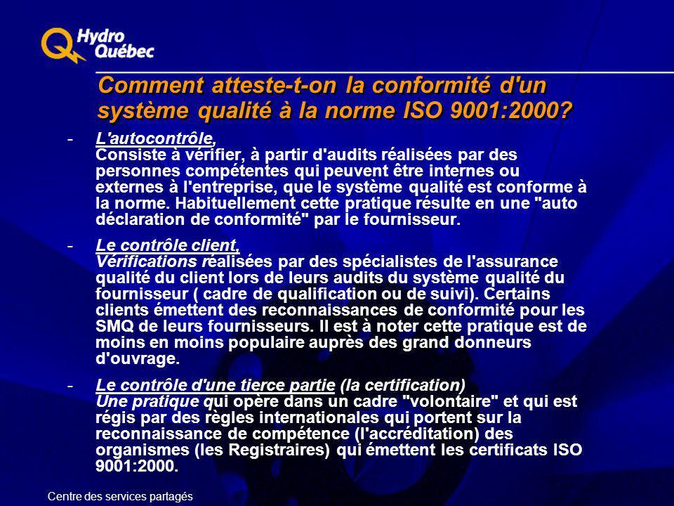 Comment atteste-t-on la conformité d'un système qualité à la norme ISO 9001:2000? -L'autocontrôle, Consiste à vérifier, à partir d'audits réalisées pa